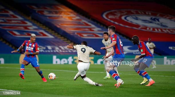 Anthony Martial of Manchester United scores his sides second goal during the Premier League match between Crystal Palace and Manchester United at...