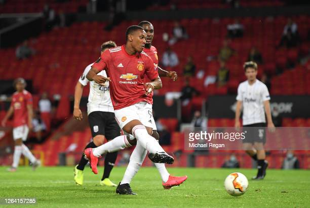 Anthony Martial of Manchester United scores his sides second goal during the UEFA Europa League round of 16 second leg match between Manchester...