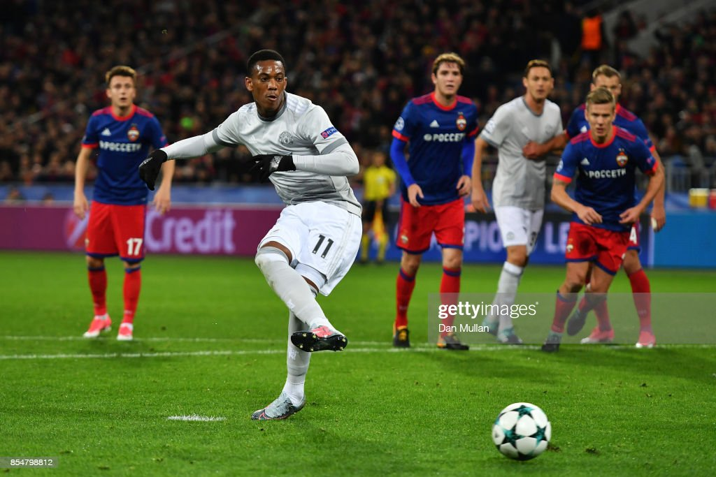 Anthony Martial of Manchester United scores his sides second goal from the penalty spot during the UEFA Champions League group A match between CSKA Moskva and Manchester United at WEB Arena on September 27, 2017 in Moscow, Russia.