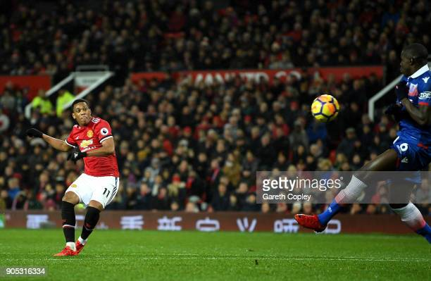 Anthony Martial of Manchester United scores his sides second goal during the Premier League match between Manchester United and Stoke City at Old...