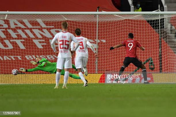 Anthony Martial of Manchester United scores his team's fifth goal during the UEFA Champions League Group H stage match between Manchester United and...