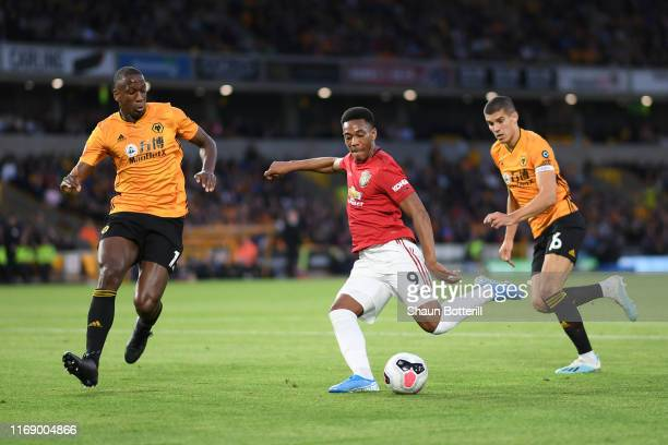 Anthony Martial of Manchester United scores his team's first goal during the Premier League match between Wolverhampton Wanderers and Manchester...