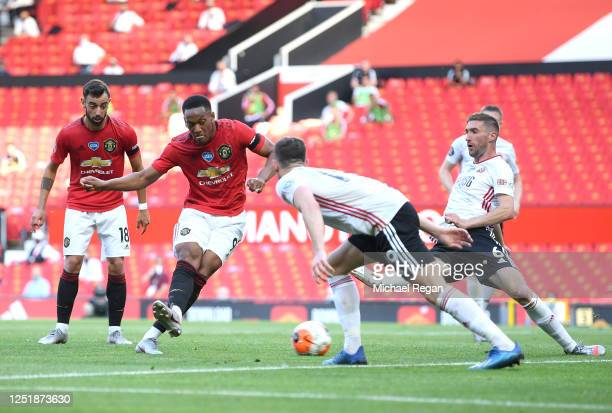 Anthony Martial of Manchester United scores his team's second goal during the Premier League match between Manchester United and Sheffield United at...