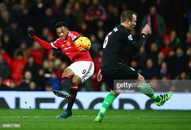 Anthony Martial of Manchester United scores his team's second goal during the Barclays Premier League match between Manchester United and Stoke City...