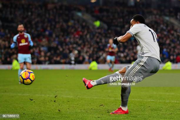 Anthony Martial of Manchester United scores the opening goal during the Premier League match between Burnley and Manchester United at Turf Moor on...