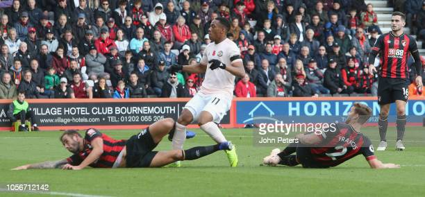 Anthony Martial of Manchester United scores their first goal during the Premier League match between AFC Bournemouth and Manchester United at...