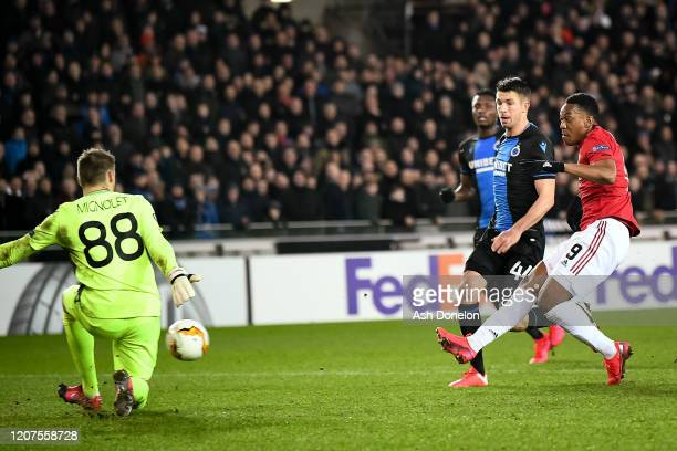 Anthony Martial of Manchester United scores their first goal during the UEFA Europa League round of 32 first leg match between Club Brugge and...