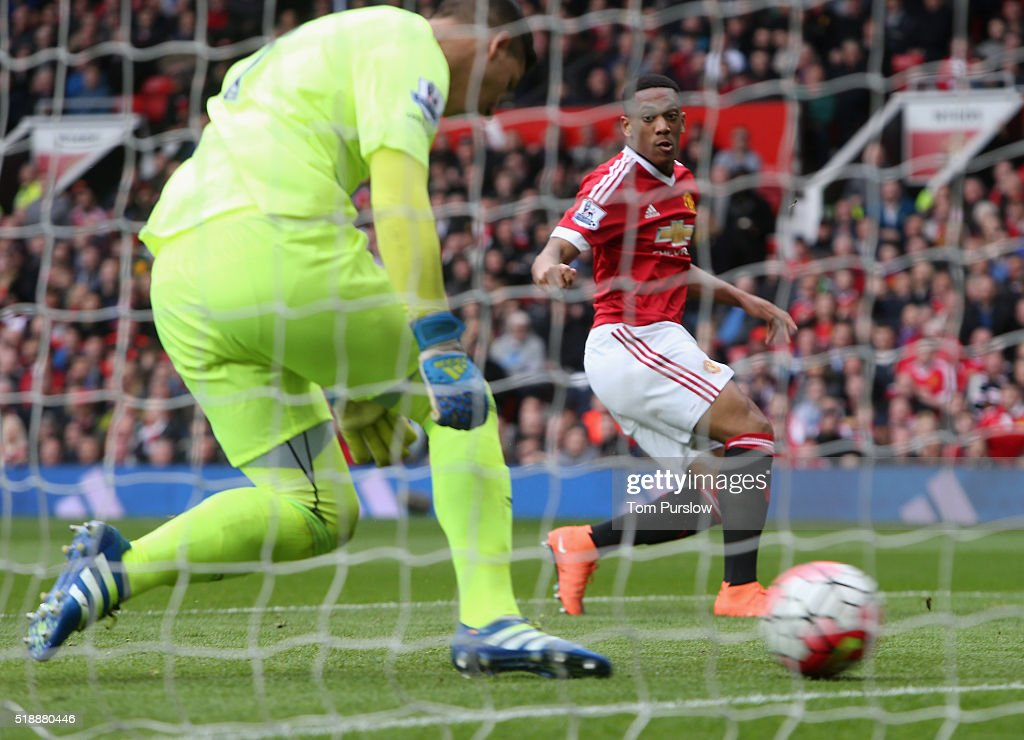 Anthony Martial of Manchester United scores their first goal during the Barclays Premier League match between Manchester United and Everton at Old Trafford on April 3, 2016 in Manchester, England.
