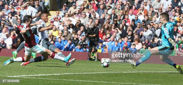 Anthony Martial of Manchester United scores their first goal during the Premier League match between Burnley and Manchester United at Turf Moor on...