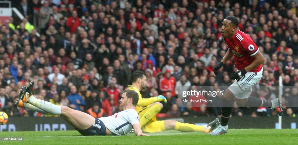 Anthony Martial of Manchester United scores their first goal during the Premier League match between Manchester United and Tottenham Hotspur at Old Trafford on October 28, 2017 in Manchester, England.