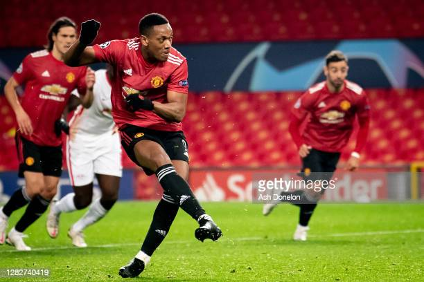 Anthony Martial of Manchester United scores their fourth goal during the UEFA Champions League Group H stage match between Manchester United and RB...