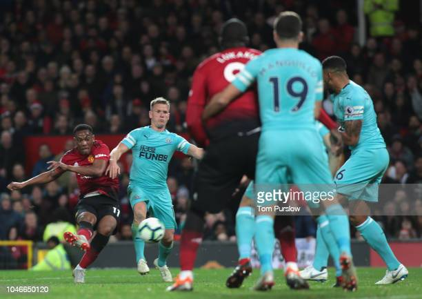 Anthony Martial of Manchester United scores their second goal during the Premier League match between Manchester United and Newcastle United at Old...