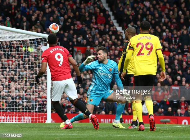 Anthony Martial of Manchester United scores their second goal during the Premier League match between Manchester United and Watford FC at Old...
