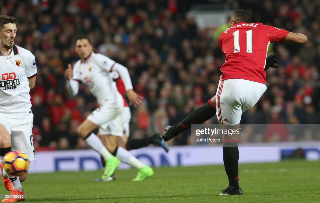 Anthony Martial of Manchester United scores their second goal during the Premier League match between Manchester United and Watford at Old Trafford on February 11, 2017 in Manchester, England.