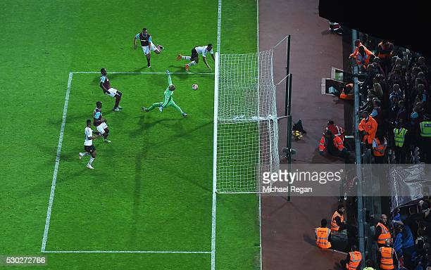Anthony Martial of Manchester United scores their second goal past goalkeepr Darren Randolph of West Ham United during the Barclays Premier League...