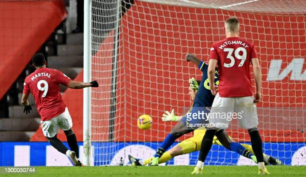 Anthony Martial of Manchester United scores their side's eighth goal during the Premier League match between Manchester United and Southampton at Old...