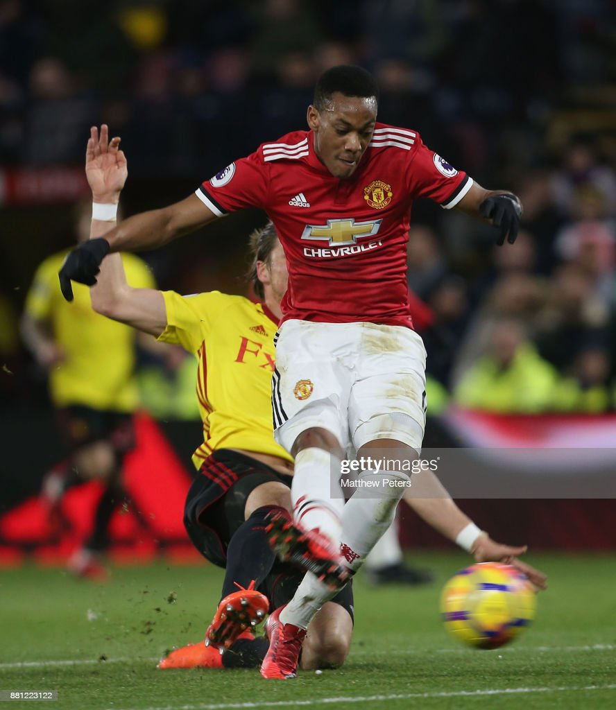 Anthony Martial of Manchester United scores their third goal during the Premier League match between Watford and Manchester United at Vicarage Road on November 28, 2017 in Watford, England.