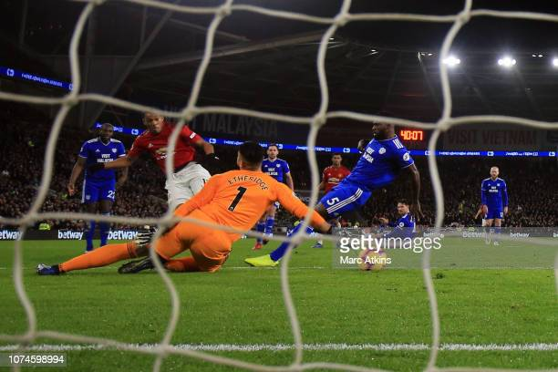 Anthony Martial of Manchester United scores tier 3rd goal during the Premier League match between Cardiff City and Manchester United at Cardiff City...
