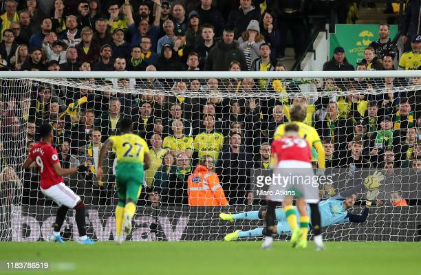 Anthony Martial of Manchester United sees his penalty saved by Tim Krul of Norwich City during the Premier League match between Norwich City and...