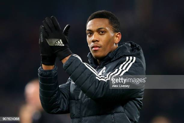 Anthony Martial of Manchester United shows appreciation to the fans after the Premier League match between Burnley and Manchester United at Turf Moor...