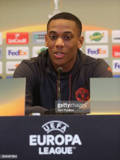Anthony Martial of Manchester United speaks during a press conference at Stade GeoffroyGuichard on February 21 2017 in SaintEtienne France