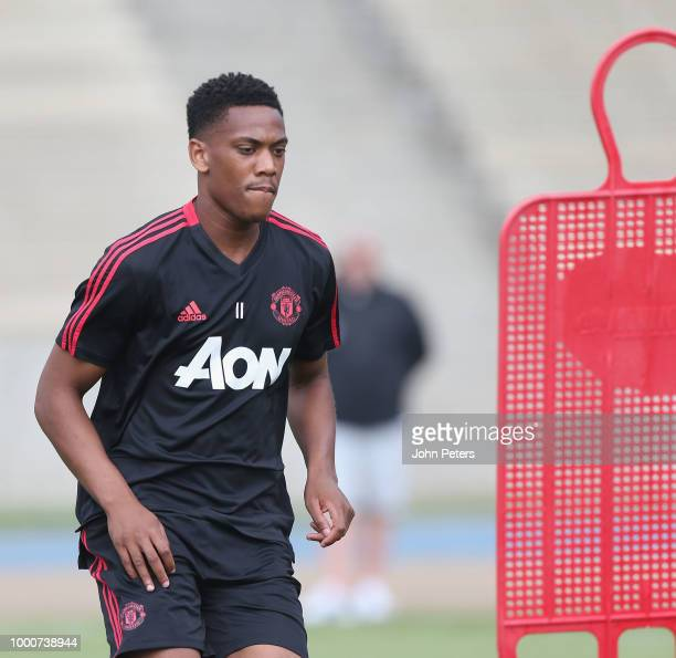 Anthony Martial of Manchester United takes part in a first team training session as part of their preseason tour of the USA at UCLA on July 17 2018...