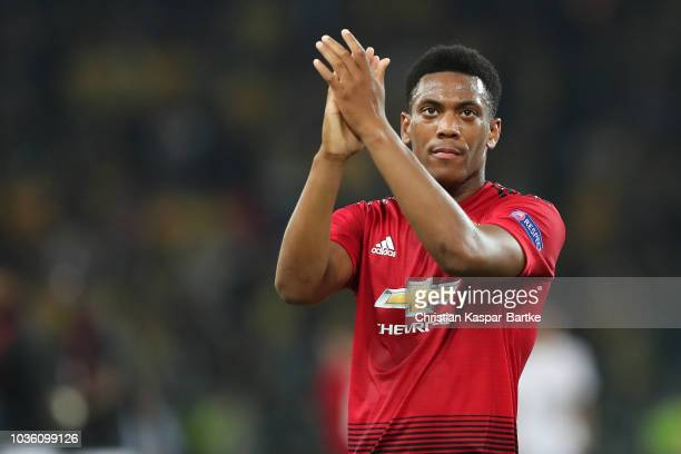 Anthony Martial of Manchester United thanks to the fans after the Group H match of the UEFA Champions League between BSC Young Boys and Manchester...