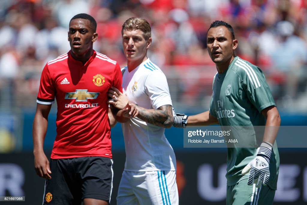 Anthony Martial of Manchester United, Toni Kroos of Real Madrid and Keylor Navas of Real Madrid during the International Champions Cup 2017 match between Real Madrid v Manchester United at Levi'a Stadium on July 23, 2017 in Santa Clara, California.