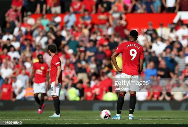 Anthony Martial of Manchester United waits to restart after Palace's second goal during the Premier League match between Manchester United and...