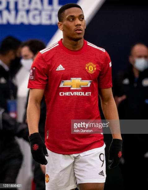 Anthony Martial of Manchester United walks out to the pitch prior to the Emirates FA Cup Quarter Final match between Leicester City and Manchester...