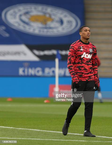 Anthony Martial of Manchester United warms up ahead of the Emirates FA Cup Quarter Final match between Leicester City and Manchester United at The...