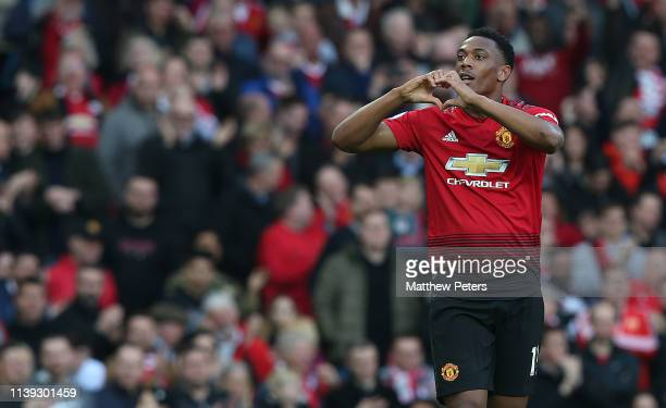 Anthony Martial of Manchester Unitedcelebrates scoring their second goal during the Premier League match between Manchester United and Watford FC at...