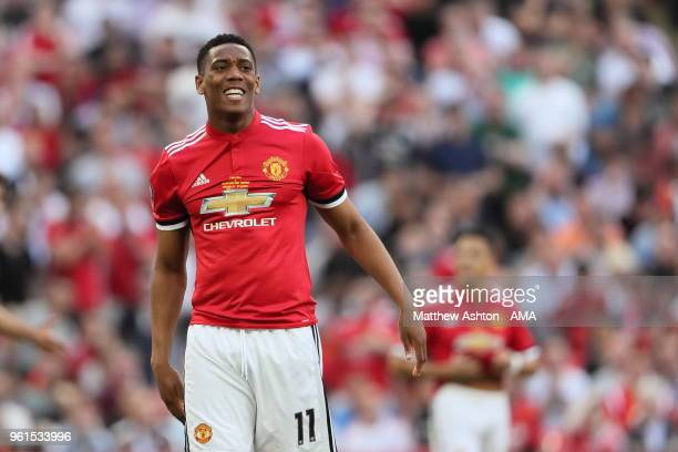 Anthony Martial of Manchester Untied during the FA Cup Final between Chelsea and Manchester United at Wembley Stadium on May 19 2018 in London England