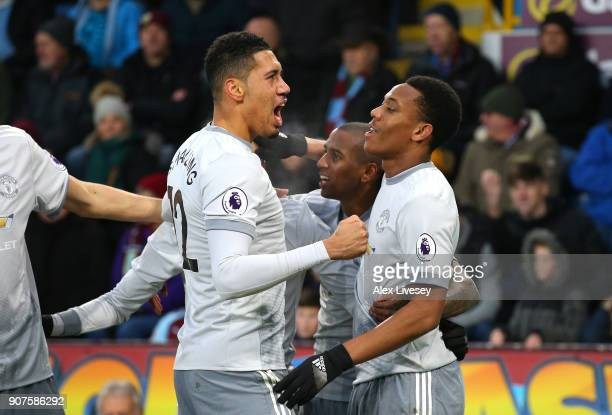 Anthony Martial of Manchster United celebrates after scoring his sides first goal with his Manchester United team mates during the Premier League...