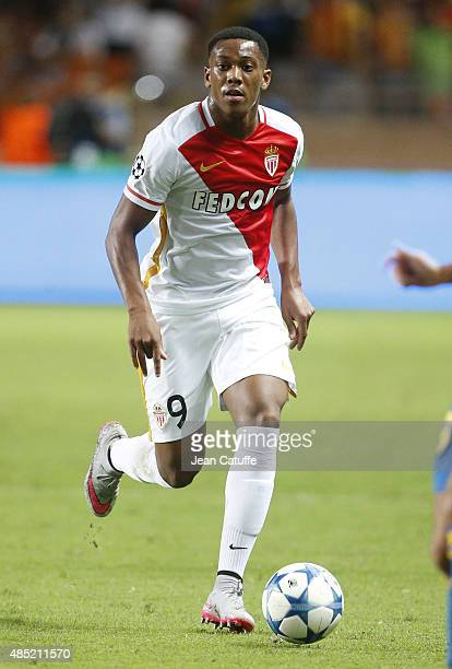 Anthony Martial of Monaco in action during the UEFA Champions League play off round 2nd leg between AS Monaco and Valencia CF at Stade Louis II on...
