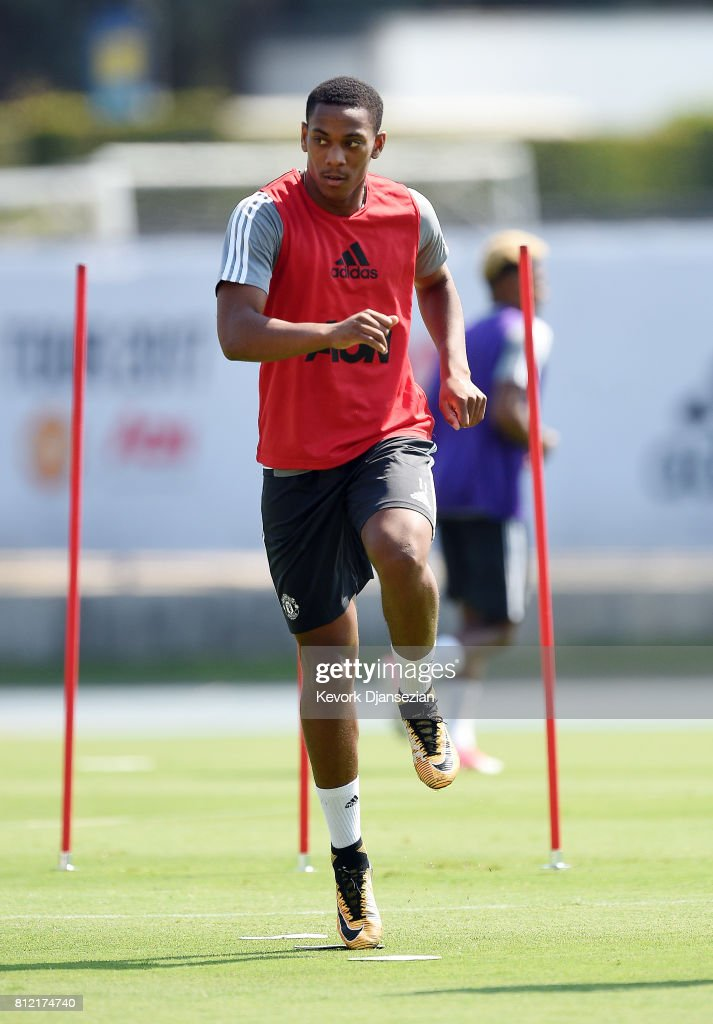 Anthony Martial #11 of the Manchester United during a training session for Tour 2017 at UCLA's Drake Stadium July 10, 2017, in Los Angeles, California.