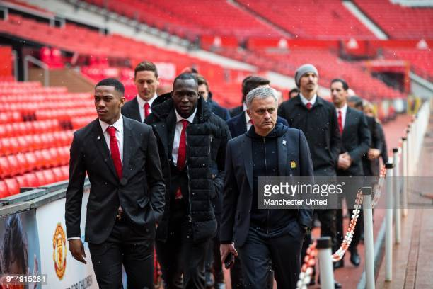 Anthony Martial Romelu Lukaku and Manager Jose Mourinho of Manchester United attend a service to commemorate the 60th anniversary of the Munich Air...