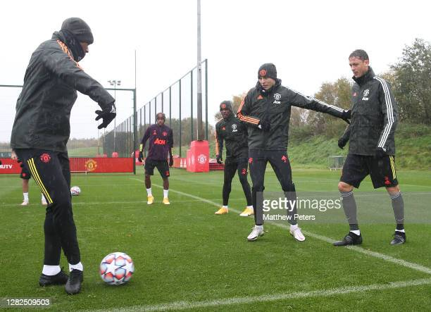 Anthony Martial Victor Lindelof Nemanja Matic of Manchester United in action during a first team training session ahead of the UEFA Champions League...