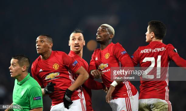Anthony Martial Zlatan Ibrahimovic Paul Pogba and Ander Herrera of Manchester United await a cross during the UEFA Europa League Round of 32 first...