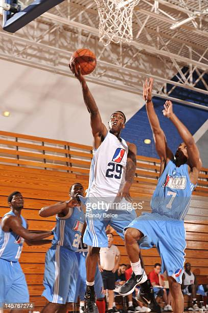 Anthony Mason, Jr. #29 of the Sioux Falls Skyforce goes to the basket past Mike Efevberha of the Iowa Energy during the NBA Development League Elite...