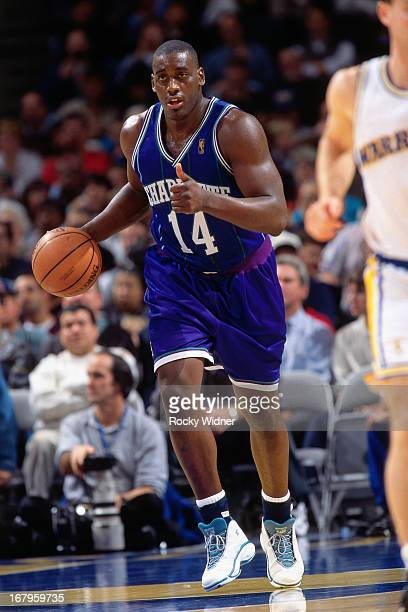 Anthony Mason of the Charlotte Hornets dribbles the ball against the Golden State Warriors during a game played on January 6, 1997 at the San Jose...