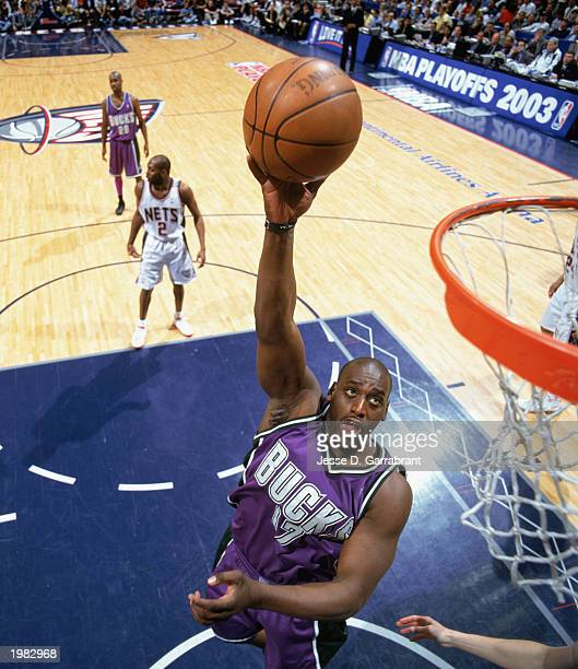 Anthony Mason of the Milwaukee Bucks goes to the hoop in Game 5 of the Eastern Conference Quarterfinals against the New Jersey Nets during the 2003...