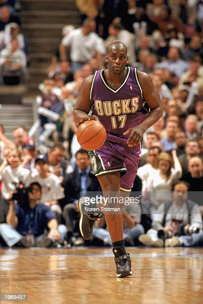 Anthony Mason of the Milwaukee Bucks moves the ball upcourt in Game Two of the Eastern Conference Quarterfinals against the New Jersey Nets during...