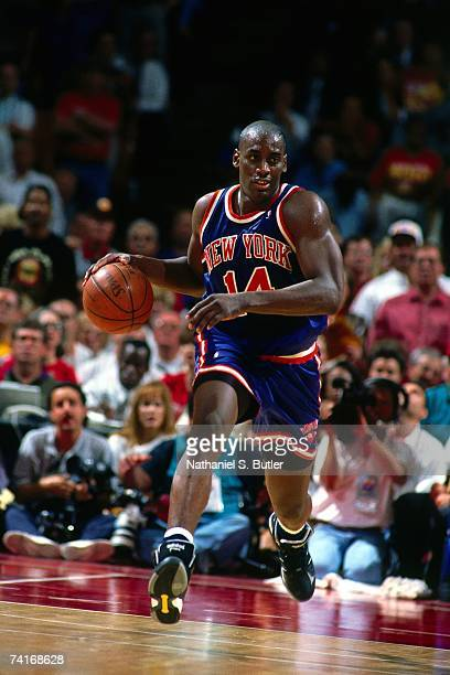 Anthony Mason of the New York Knicks drives the ball up court during Game Seven of the NBA Finals played on June 22, 1994 at The Summit in Houston,...