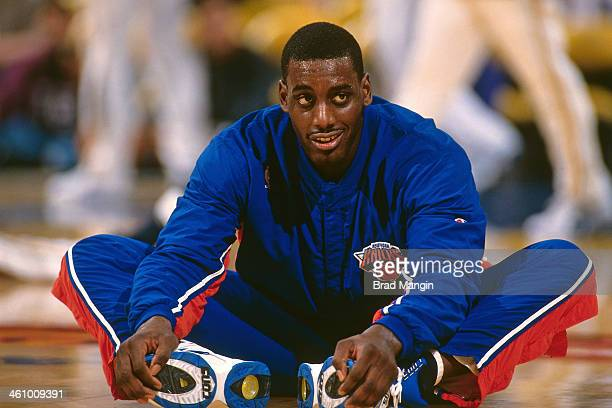 Anthony Mason of the New York Knicks stretches during a game played circa 1996 at Oakland-Alameda County Coliseum in Oakland, California. NOTE TO...
