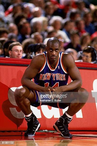 Anthony Mason of the New York Knicks waits at the scorers table to check into Game Three of the Eastern Conference Semifinals during the 1994 NBA...