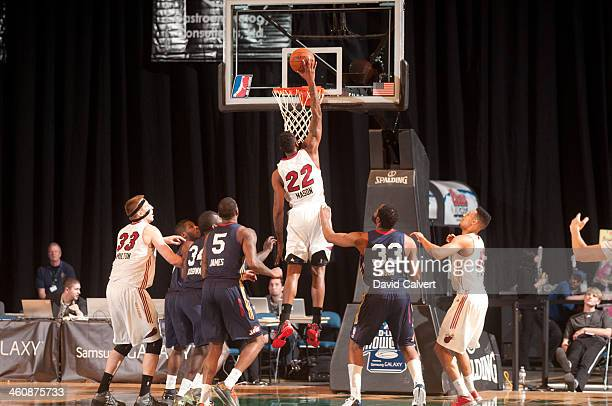Anthony Mason of the Sioux Falls Skyforce dunks against the Bakersfield Jam during the 2014 NBA D-League Showcase presented by Samsung Galaxy on...