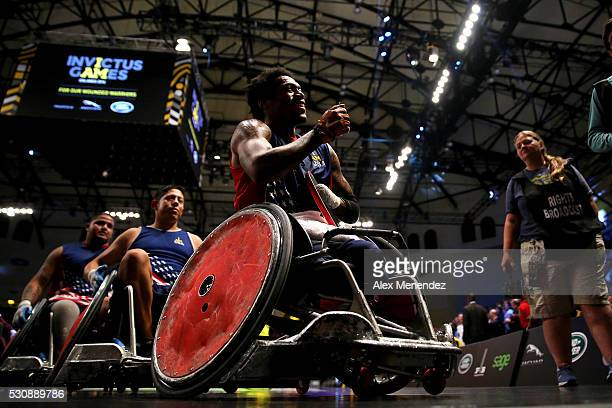 Anthony McDaniel celebrates his Gold medal win against Denmark during the Invictus Games Orlando 2016 Wheelchair Rugby Finals at the ESPN Wide World...
