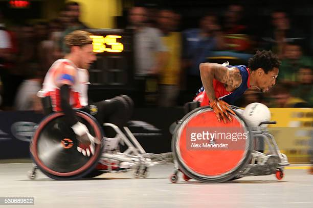 Anthony McDaniel of the United States scores during the Invictus Games Orlando 2016 Wheelchair Rugby Finals at the ESPN Wide World of Sports Complex...