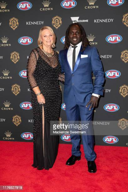 Anthony McDonald-Tipungwuti and Jane McDonald attends the 2019 Brownlow Medal on September 23, 2019 in Melbourne, Australia.